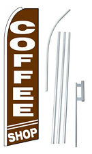 Coffee Banner Sign Flag Shop Kit Swooper Feather Flutter Complete 15'