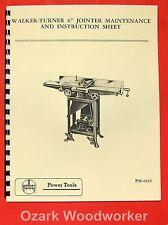 "WALKER TURNER 6"" Jointer Instructions & Parts Manual"