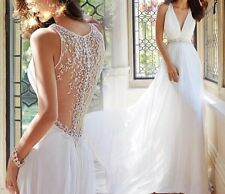 New White Sleeveless Beach Wedding  Bridal Formal Dress Gown