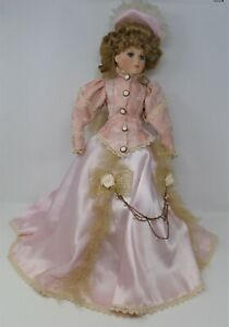 Victorian Pink Satin Lady Porcelain Doll, 21 inches tall