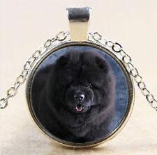 Black chow dog Cabochon Tibetan silver Glass Chain Pendant Necklace #2651