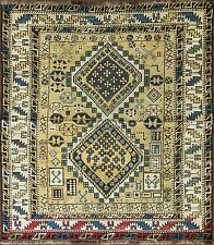 "4' x 4'6"" Unusual Antique Shirvan Caucasian Oriental Rug, C-1880 #14476"