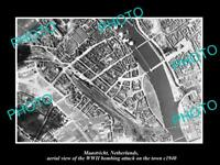 OLD POSTCARD SIZE MILITARY PHOTO MAASTRICHT HOLLAND AERIAL VIEW BOMBING c1940