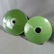 2 of French Antique Green Porcelain Enamel Ceiling Light Shades c.1940
