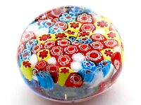 Millefiori Art Glass Paperweight Multicolored Flowers Beach Summer gift. 💝