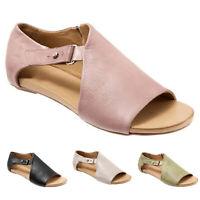 Women's Gladiator Open Toe Flat Buckle Sandals Summer Beach Casual Roman Shoes