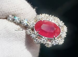 Ruby Pendant Gold Diamond Necklace NO HEAT 3.33CTW GIA Certified RETAIL $13300
