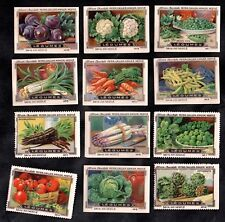 Garden Vegetables Nestle Swiss 1920 Stamp Card Set Legumes Tomato Pea Bean Seeds