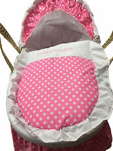 Mother Nature Inspired Baby Moses Basket Bedding/Dressing - Pink Polka Dots