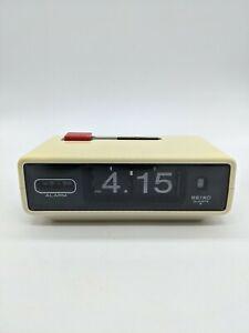 SEIKO Quartz Flip alarm clock Vintage Retro Antique White