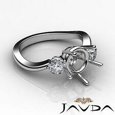 Diamond Three Stone Wedding Round Semi Mount Platinum 950 Twist Shank Ring 0.5Ct