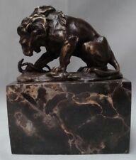 Estatua León Serpiente Fauna Art Deco Estilo Art Nouveau Estilo Bronce sólido Fi