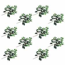 vidaXL 10x Artificial Leaves Ficus Green Artificial Foliage Floral Decor