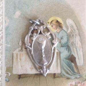 Médaille Religieuse Argent Massif Communion Art Nouveau Collection Religion