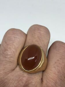 Vintage Golden Carnelian Men's Stainless Steel Ring Size 10