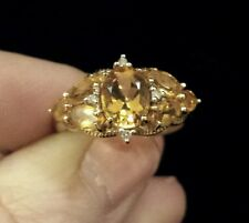 10K Yellow Gold CITRINE And DIAMOND Ring, ANTIQUE Feminine Look, Sizeable 7