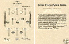 US PATENT for CROQUET Vintage Art Print READY TO FRAME game ball mallet wicket
