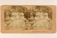 Salón Chicas Belleza Foto B. W. Kilburn Estéreo Vintage Albúmina 1897