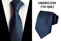 Blue Tie Silk Navy Patterned Wedding 100% Silk Mens Necktie UK Seller