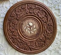 Small Wooden Hand Carved Trivet Hot Plate Stand Made In India Inlay Floral