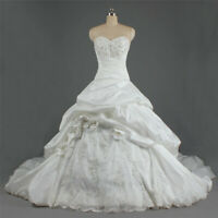 Luxury Sweetheart Ball Gown Wedding Dress Beaded Lace Ruffle Pleated Bridal Gown