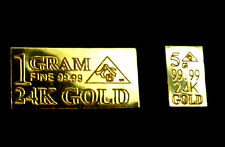 ACB (2 pack) 1 GRAM AND 5grain  24k FINE Gold 99.99 Pure Bullion Bars $