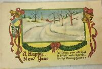 Posted 1914 Postcard A Happy New Year Church Scenery CS 675 Divided Back