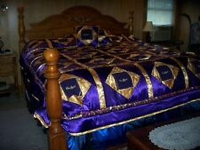 """Purple  Crown Royal quilt 98x 95""""  Down with Crown Royal bags, 2 pillows"""