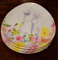 4 Egg Shaped Salad or Dessert Plates - Floral Easter Bunny Rabbit- Nicole Miller