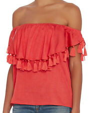 $188 NWT - St. ROCHE Women's 'TASSLE'' Coral Red OFF-SHOULDERS TOP Size: S