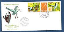 Gabon  grande  enveloppe 1er jour Philexafrique  tryptique  oiseau  singe 1978