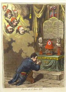 "RARE / 100% GENUINE 1798 JAMES GILLRAY AQUATINT ""SHRINE at ST ANN'S HILL"""