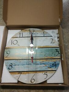 """Grazing 12"""" Vintage Arabic Numerals ,Shabby Beach, Weathered Beachy Boards"""