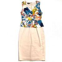 Bebe Womens Dress Size 6 Floral Print Peplum Midi Cocktail Sleeveless V-Neck