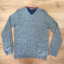 Ted Baker Light Grey Jumper Sweater V Neck Thin Knit 100% Wool Medium M Smart