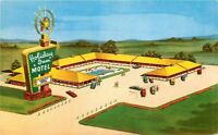 Autos Holiday Inn pool roadside Topeka Kansas 1950s Postcard 9144