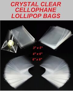 CELLOPHANE LOLLIPOP BAGS - Crystal Clear Display Bags - Sweets Cookies Crafts