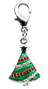 Dog Charm Christmas Tree - or Holiday Zipper Pull w Lobster Claw - Glitz Sparkle