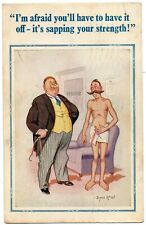 Comic Postcard Man With Large Mustache in Doctors Surgery Artist Donald McGill