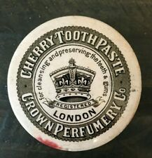 CHERRY TOOTHPASTE CROWN PERFUMERY CO  Pot Lid Large Size & Pot