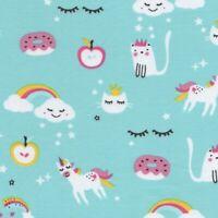 Magicland Clouds Rainbows Unicorns Jersey - Blue - Stretch Cotton Fabric Dressma