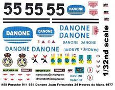 #55 JUAN FERNANDEZ Danone Porsche 911 1977 1/32nd Scale Slot Car Decals