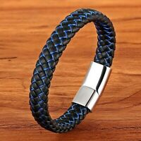 Bracelet homme femme en acier inoxydable et cuir noir et bleu 21 ou 19 cm