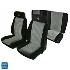 1985-1987 Grand National Front Bucket & Rear Bench Seat Covers Black & Gray Set
