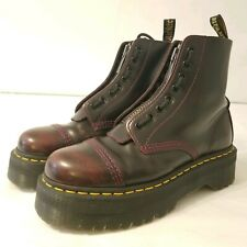 Doc Martens Sinclair Cherry Red Arcadia Platform Zip Front Boots Womens Size 9