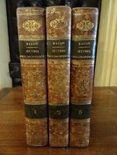 Oeuvres philosophiques Francis Bacon Hachette 1834 3 volumes Pleine Basane