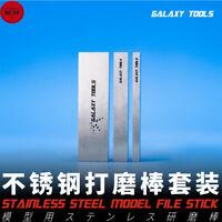 Stainless Steel Model Grinding File Stick Model Building Tools 3pcs/set