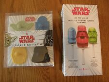 Set of 2:Williams Sonoma Star Wars Cookie Cutters & Zoku Ice Pop Molds-R2D2,C3PO