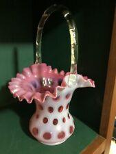 "Vintage Fenton Art Glass Cranberry/Pink Coin Dot Basket Clear HandleRare 10"""