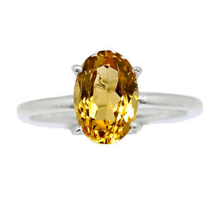 Citrine - Brazil 925 Sterling Silver Ring Jewelry s.7 BR98381